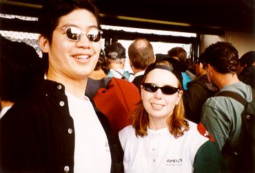 April 11, 2000 — Giants play the first official game at Pacific Bell Park, hosting the Los Angeles Dodgers. Eric Yeung and Kristen Loomis behind right field.
